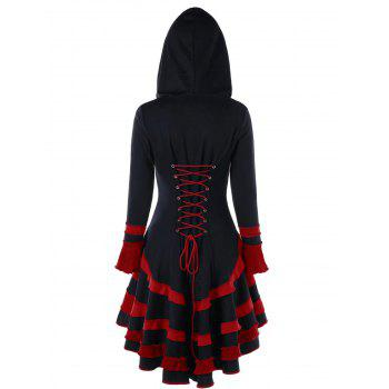High Low Lace-up Buckle Duffle Coat - BLACK/RED 2XL