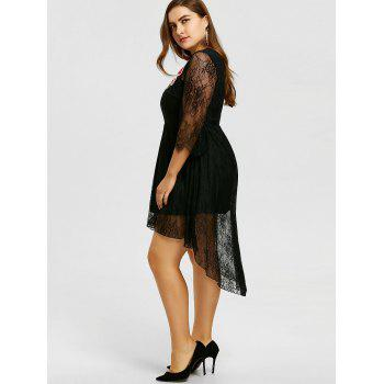 Plus Size Embroidery Lace High Low Hem Dress - BLACK 4XL
