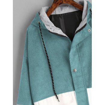 Color Block Hooded Corduroy Jacket - BLUE GREEN XL