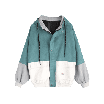 Color Block Hooded Corduroy Jacket - BLUE GREEN L