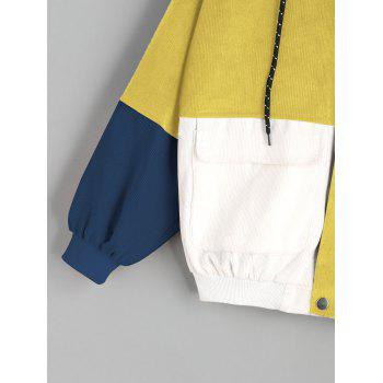 Color Block Hooded Corduroy Jacket - YELLOW L