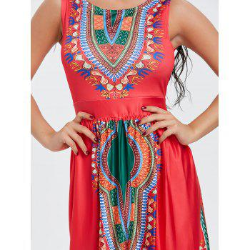 Sleeveless Ethnic Print Dress - RED XL