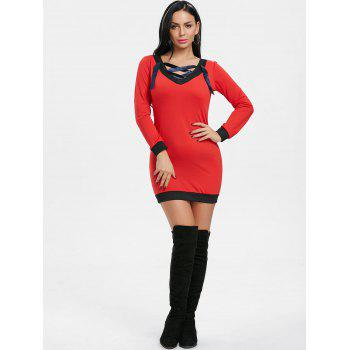 V Neck Lace Up Long Sleeve Dress - RED M