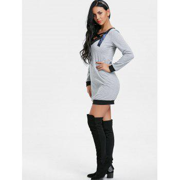 V Neck Lace Up Long Sleeve Dress - GRAY S