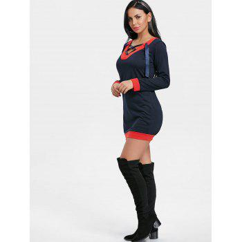 V Neck Lace Up Long Sleeve Dress - CADETBLUE M