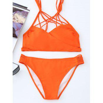 Halter Strappy Caged Bikini Set - ORANGE L