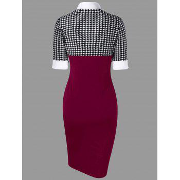 Houndstooth Side Slit Tight Dress - WINE RED XL