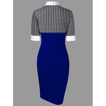 Houndstooth Side Slit Tight Dress - ROYAL M