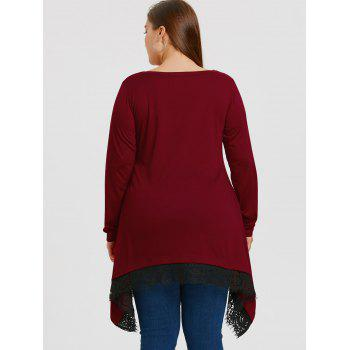 Plus Size Lace Trim Sharkbite Tunic T-shirt - WINE RED XL