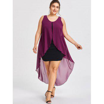 Robe Flowy sans manches grande taille - Violet Rose 2XL