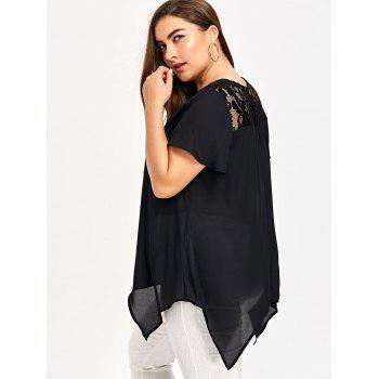 Plus Size Lace Insert Handkerchief Blouse - BLACK 5XL