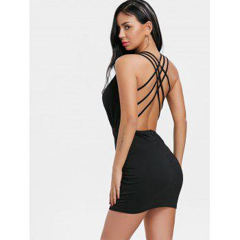 Plunging Neck Strappy Back Dress - BLACK M
