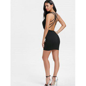 Plunging Neck Strappy Back Dress - BLACK XL