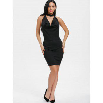 Backlesss Draped Halter Neck Dress with Choker - BLACK M
