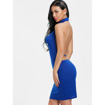 Backlesss Draped Halter Neck Dress with Choker - BLUE L