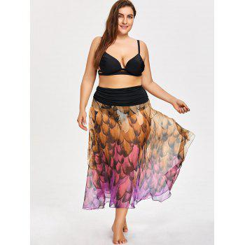 Feather Print Plus Size Convertible Cover-up Dress - PURPLE 4XL