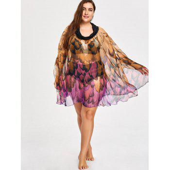 Feather Print Plus Size Convertible Cover-up Dress - PURPLE 5XL