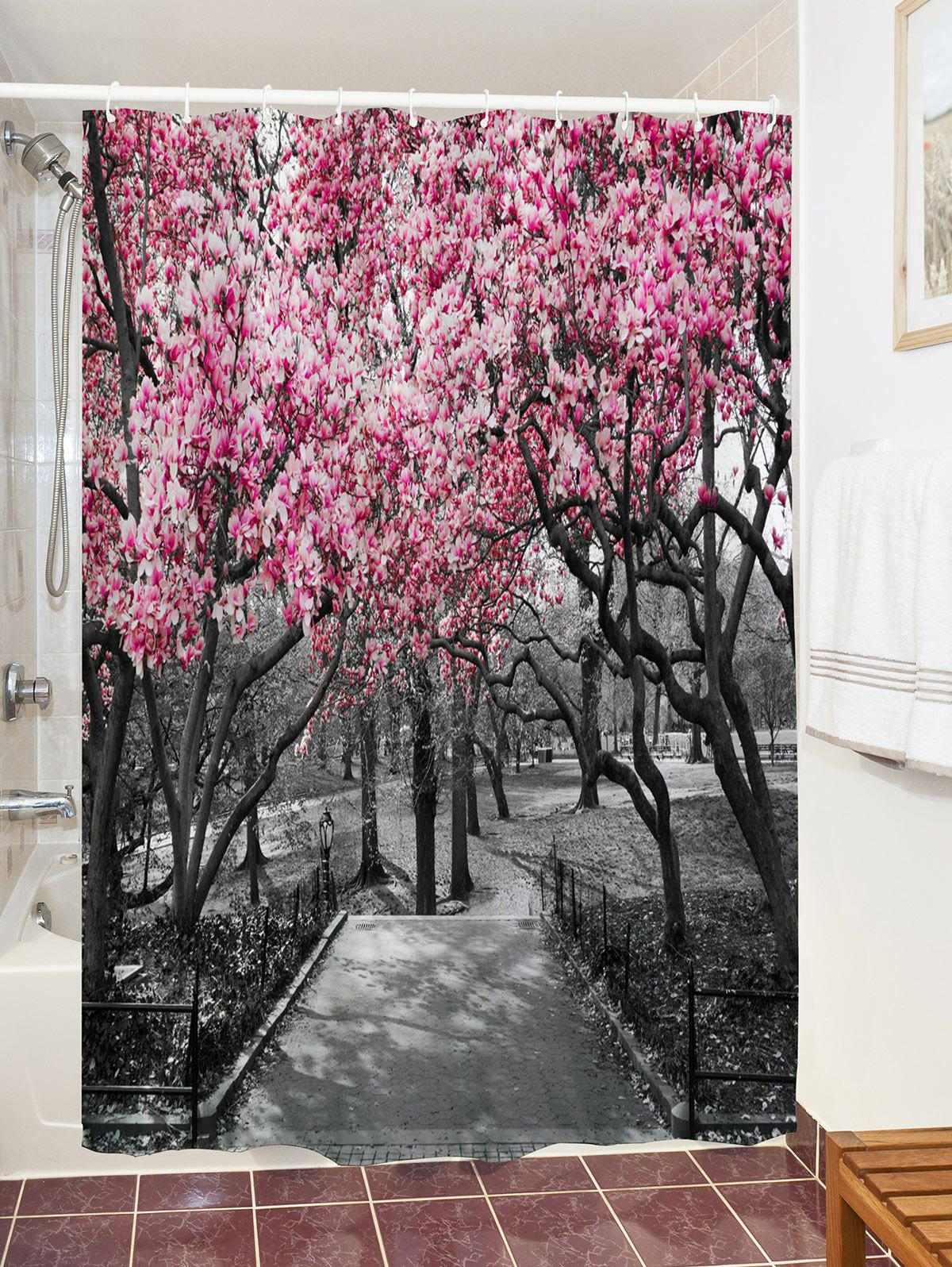 Flower Trees Path Print Waterproof Shower Curtain - COLORMIX W59 INCH * L71 INCH