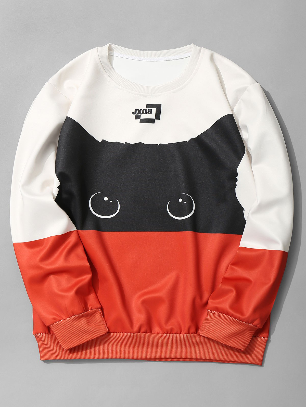 Crew Neck Cat Graphic Color Block Sweatshirt - JACINTH M