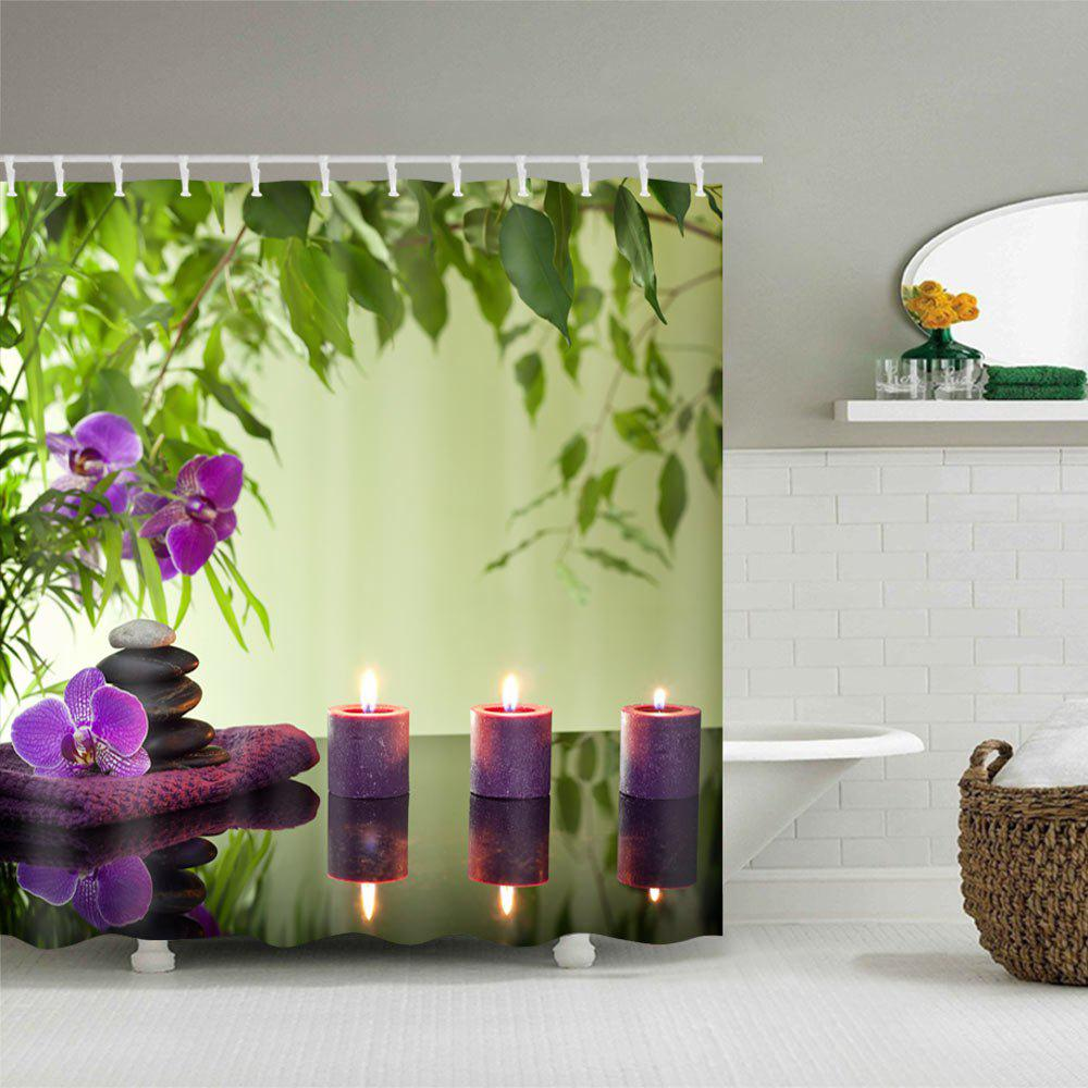 Flower Candles Print Waterproof Shower Curtain - COLORMIX W71 INCH * L79 INCH