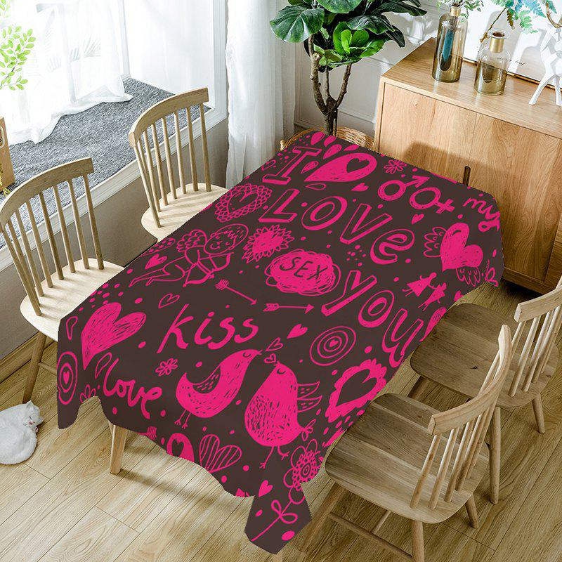 Le jour de la Saint-Valentin Love Decorations Pattern Table Cloth - Frutti de Tutti W60 INCH * L84 INCH