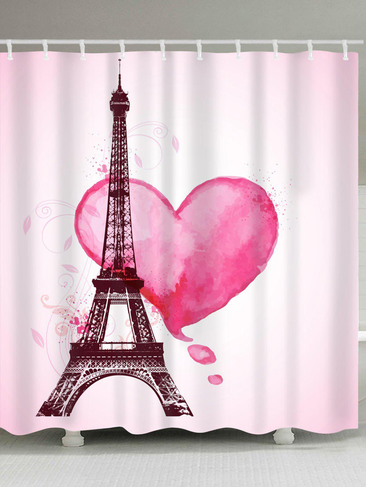 Valentine's  Day Eiffel Tower Heart Print Waterproof Shower Curtain waterproof eiffel tower floral polyester shower curtain