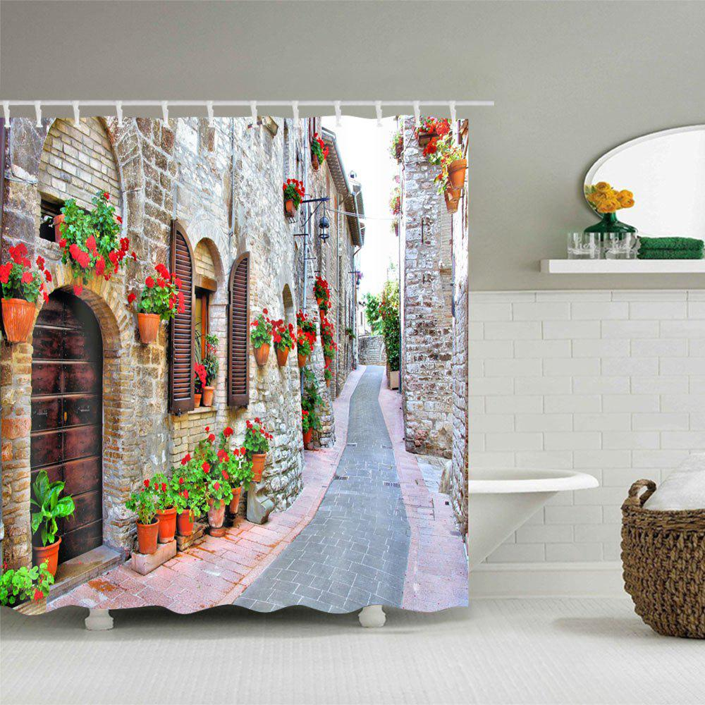 Brick House Alley Print Waterproof Shower Curtain - COLORMIX W71 INCH * L79 INCH