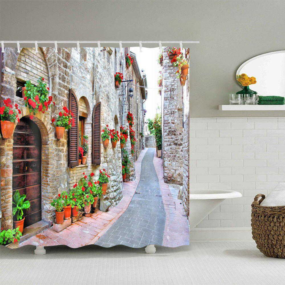 Brick House Alley Print Waterproof Shower Curtain - COLORMIX W59 INCH * L71 INCH
