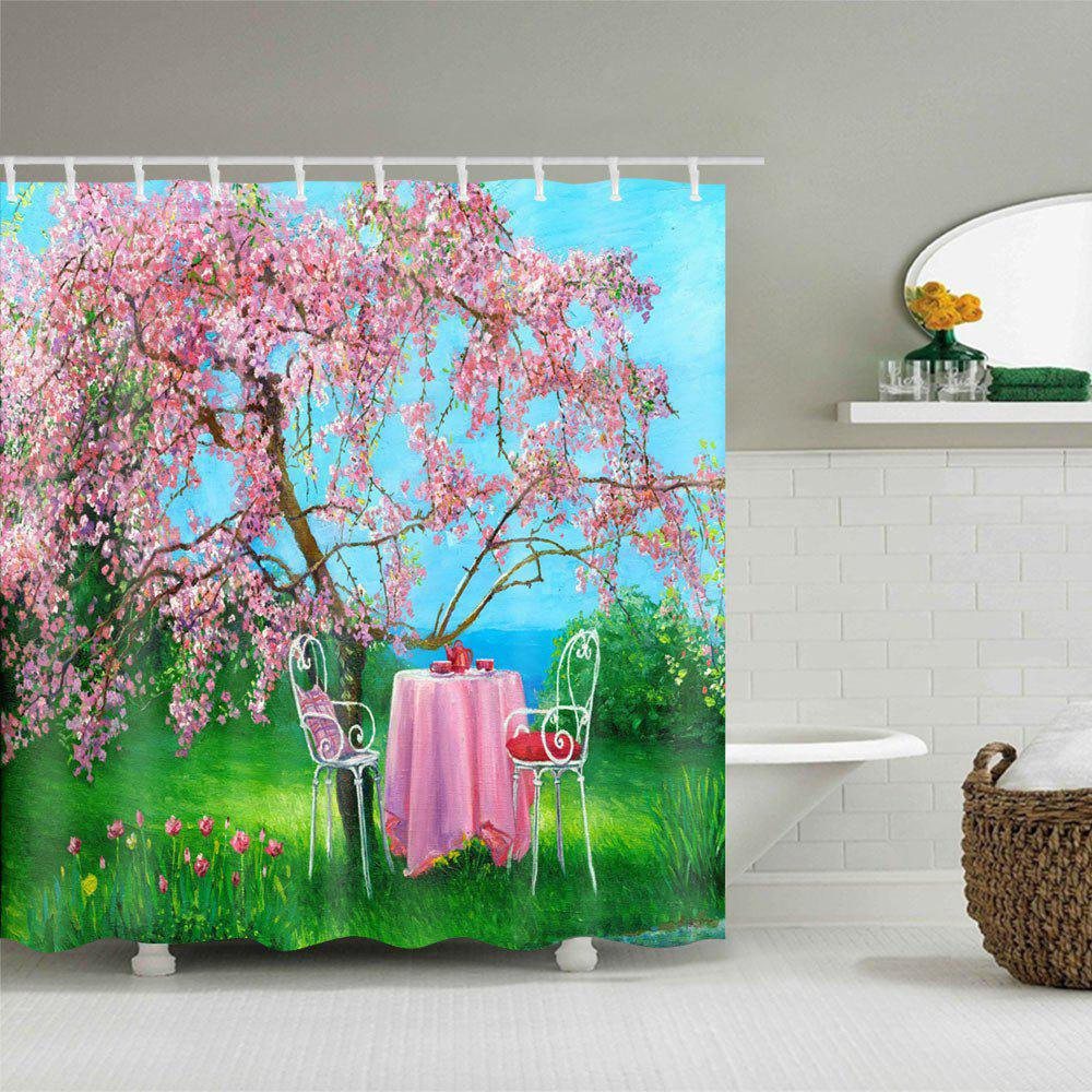 Flower Tree Table Print Waterproof Shower Curtain - COLORMIX W59 INCH * L71 INCH