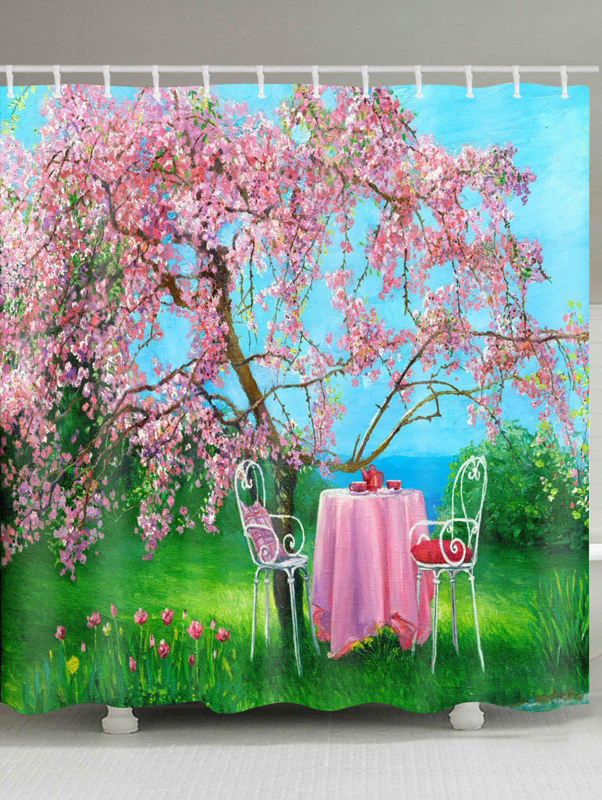 Flower Tree Table Print Waterproof Shower Curtain - COLORMIX W71 INCH * L71 INCH