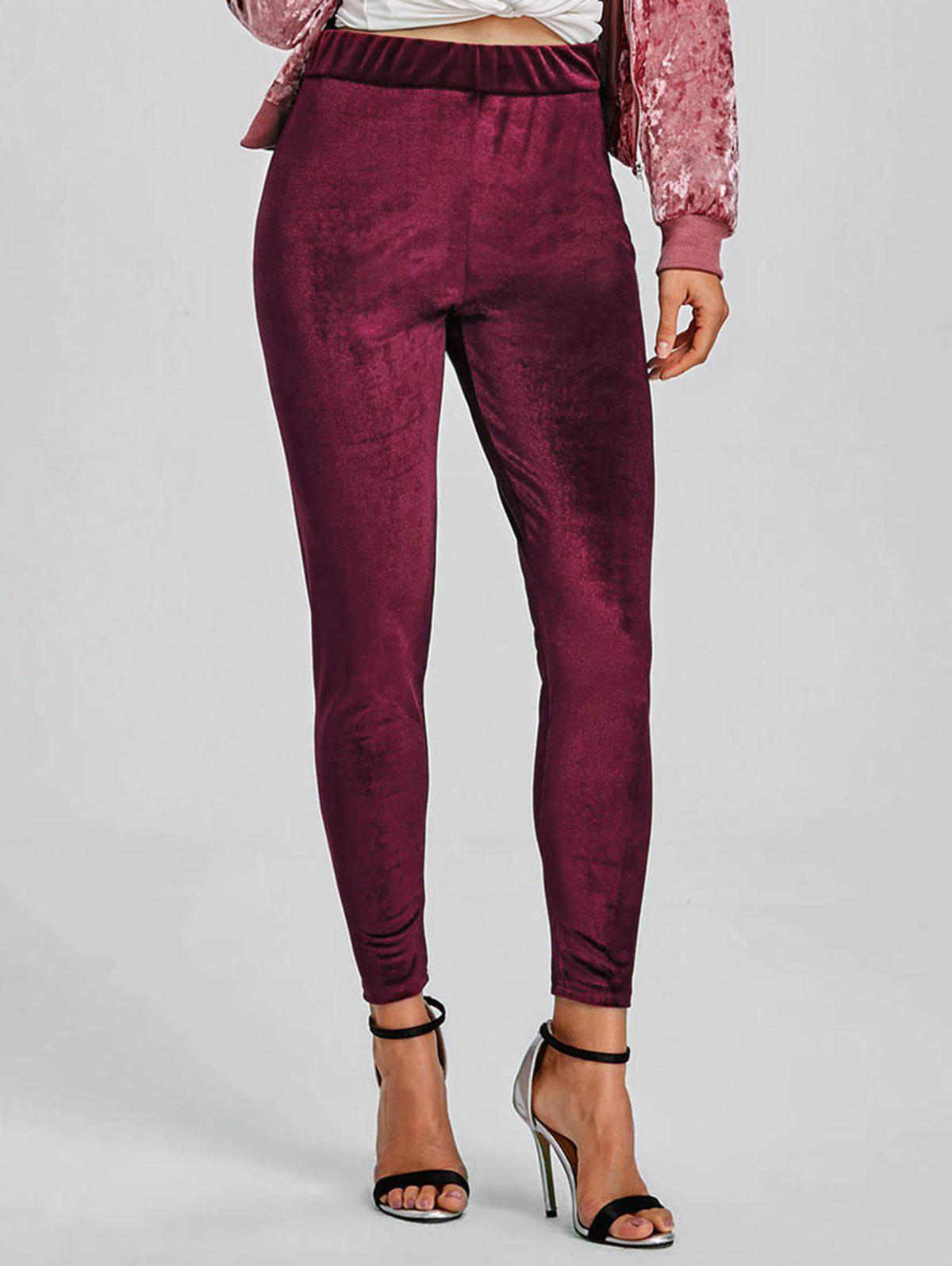 Velvet Elastic Waist Skinny Pants - WINE RED XL