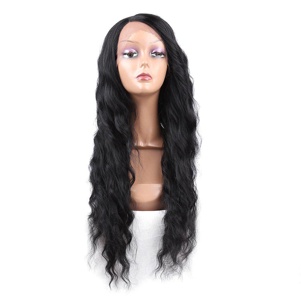 Long Side Parting Wavy Heat Resistant Synthetic Lace Front Wig kylie jenner wig long black natural wavy hair lace front wig for black women synthetic heat resistant 180
