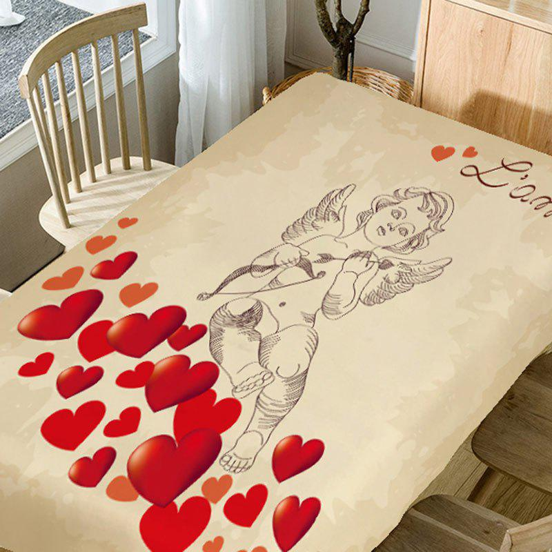 Love Heart and Cupid Printed Waterproof Table Cloth - PINK W54 INCH * L72 INCH