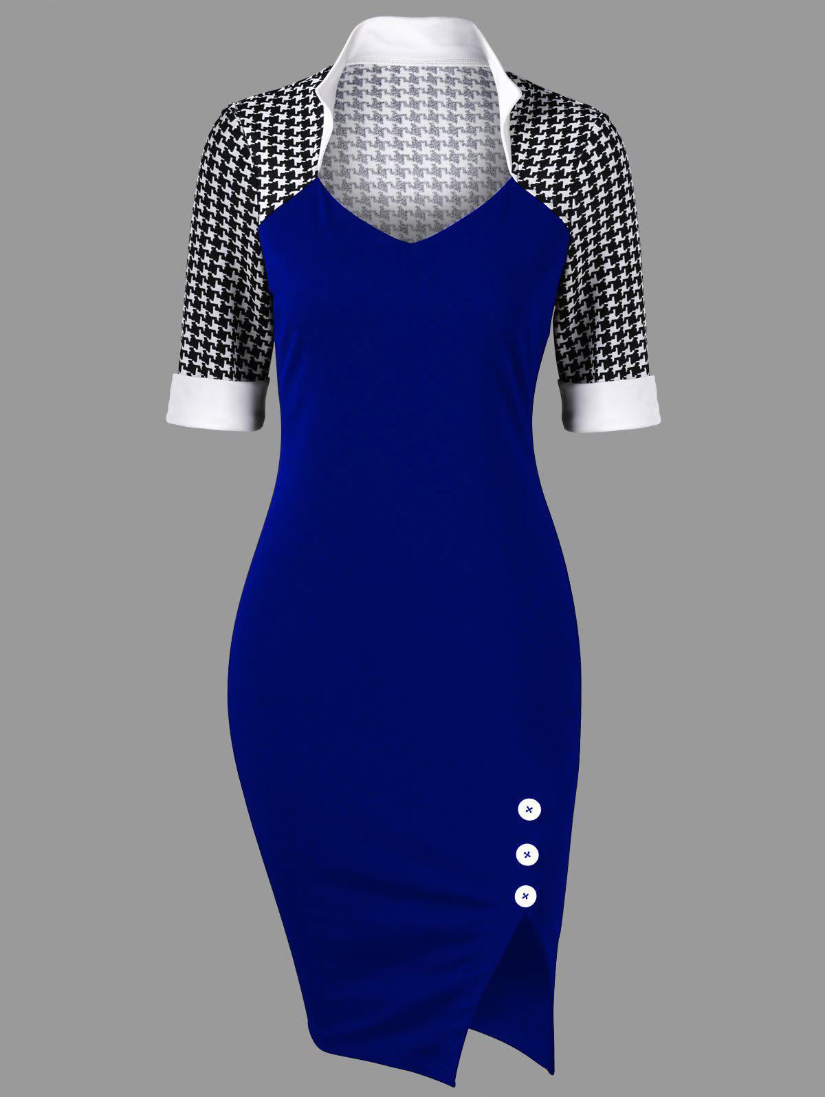 Houndstooth Side Slit Tight Dress - ROYAL 2XL