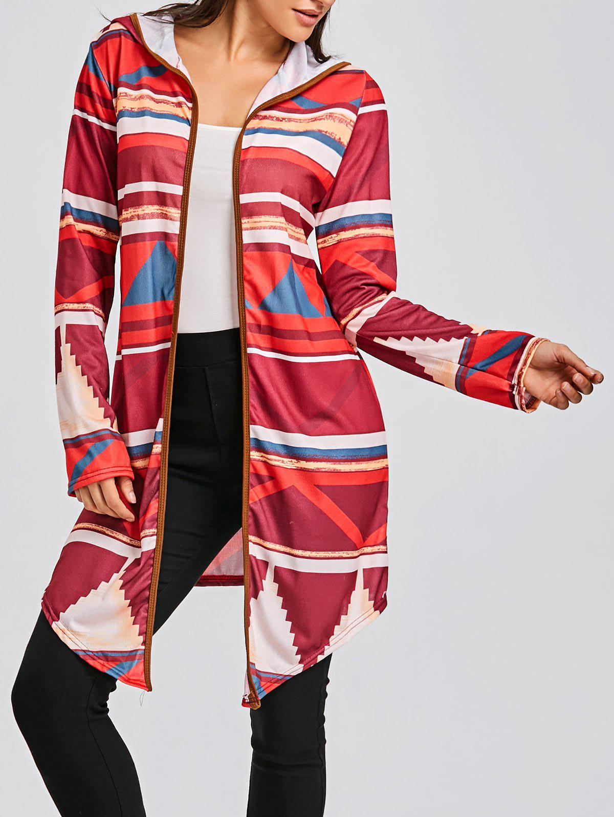 Color Block Geometric Print Hooded Cardigan - RED XL
