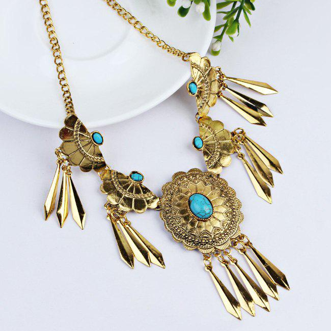Boho Style Faux Gem Embellished Fringed Necklace Earrings Set - BLUE