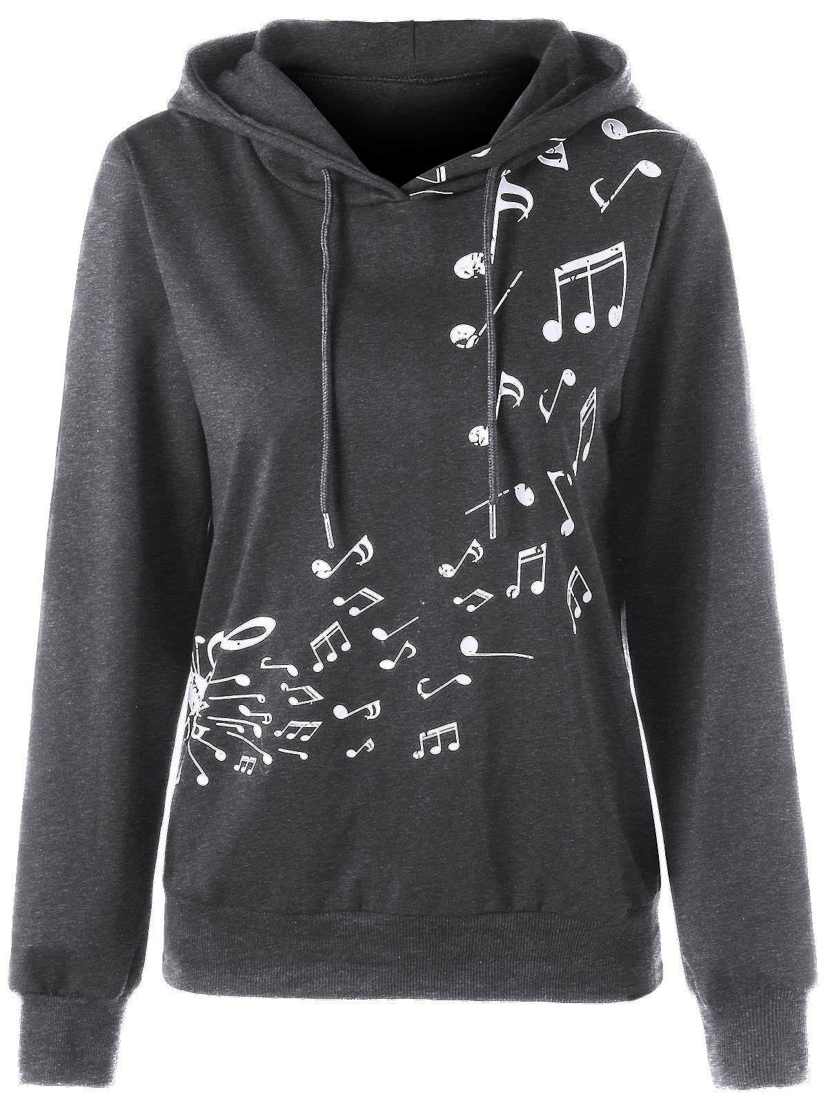 Two Tone Music Note Hoodie - DEEP GRAY XL