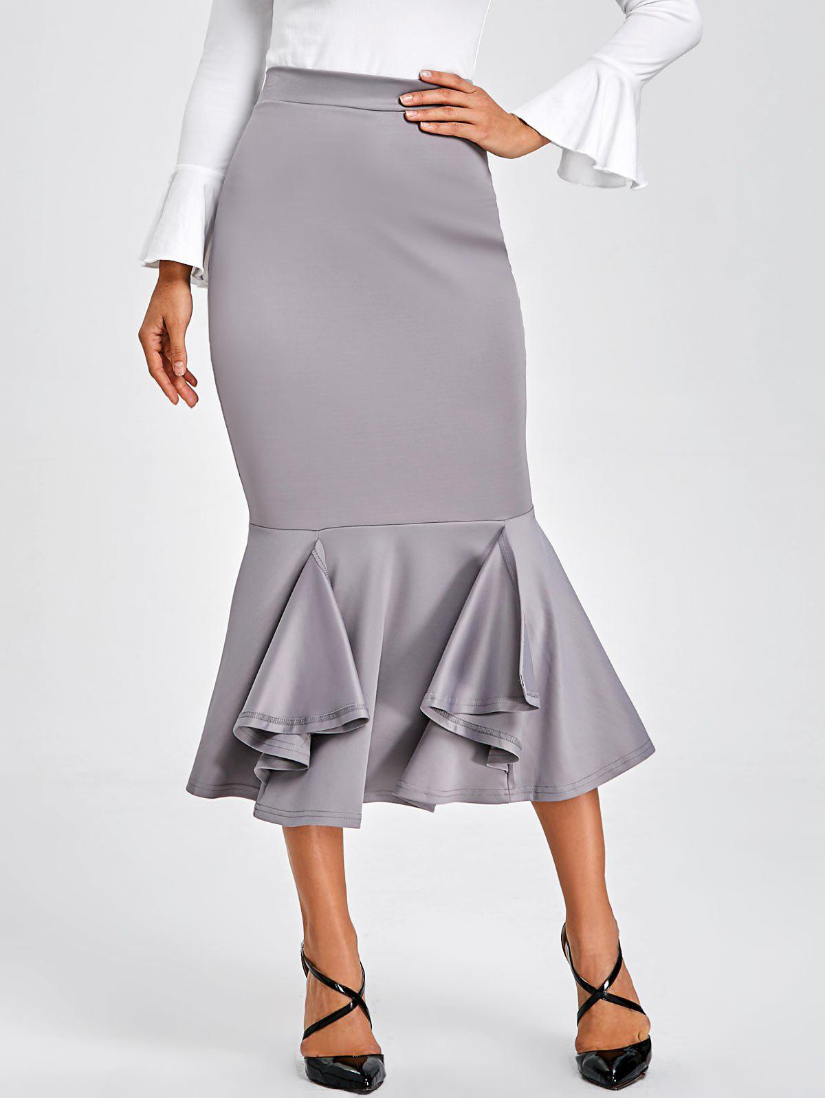 Bodycon Mermaid Midi Skirt - GRAY S