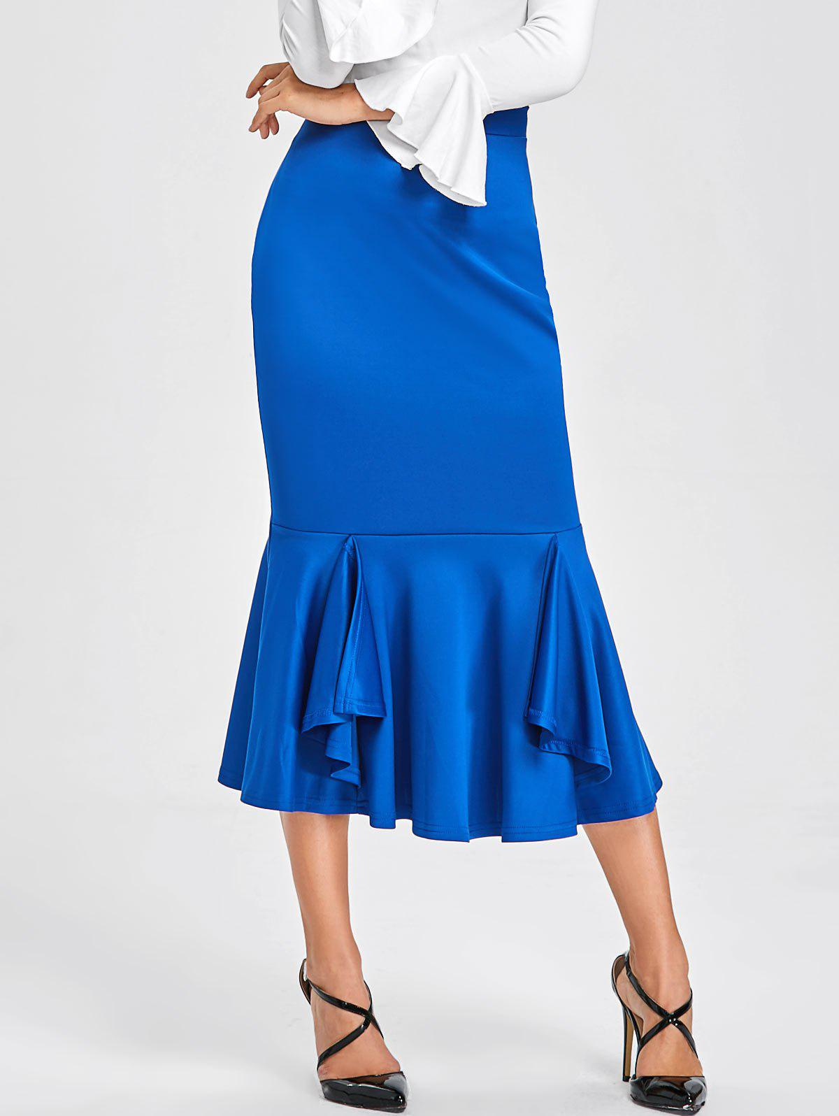 Bodycon Mermaid Midi Skirt - BLUE XL