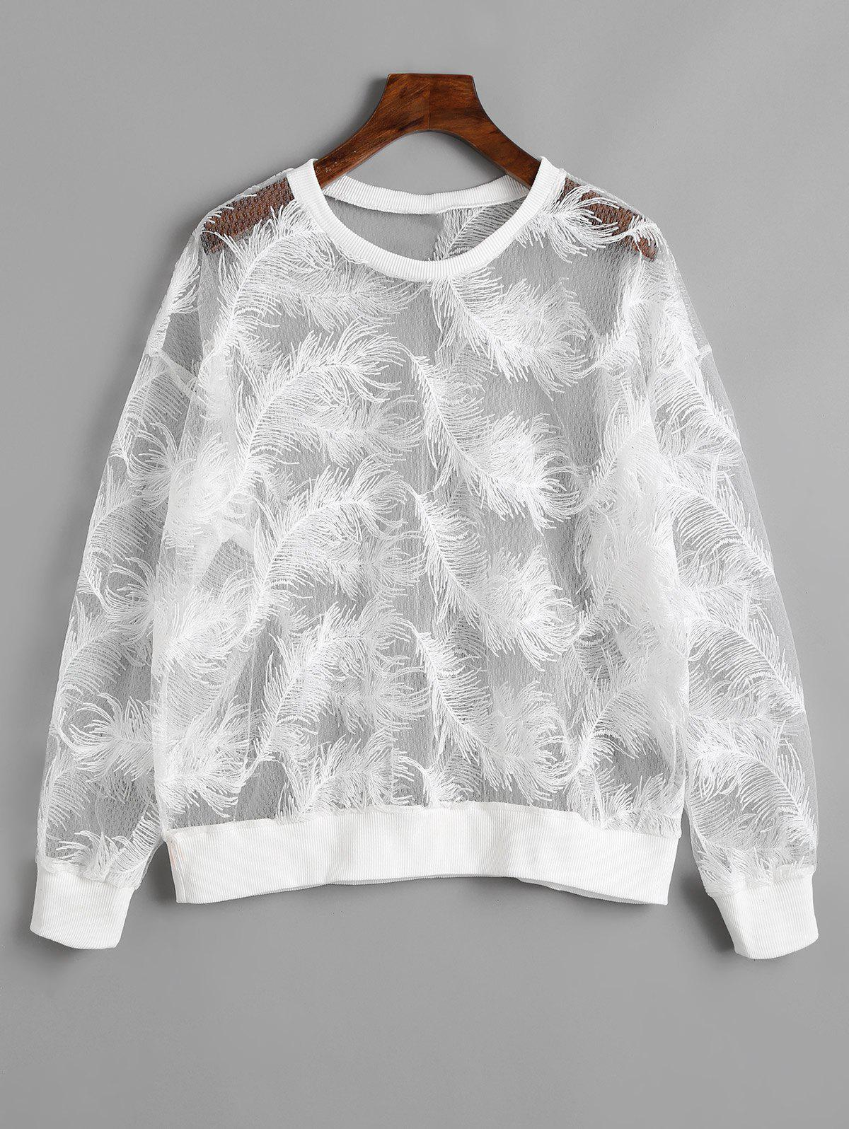 See Through Feather Sweatshirt feather print asymmetrical cuff see through kimono