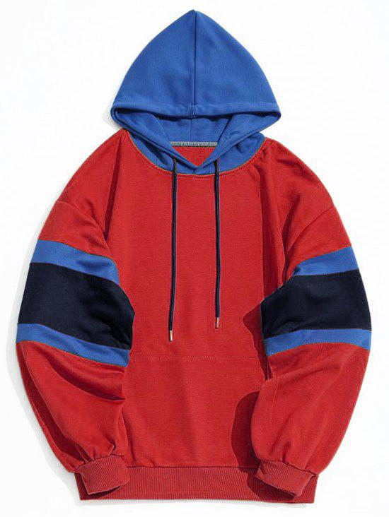 Color Block Kangaroo Pocket Mens Hoodie - RED L