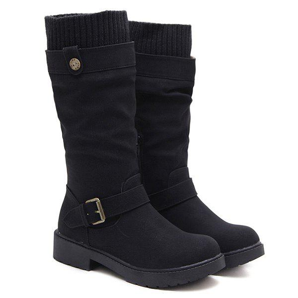 Buckle Strap Low Heel Stitching Mid Calf Boots trendy low heel and double buckle design women s mid calf boots