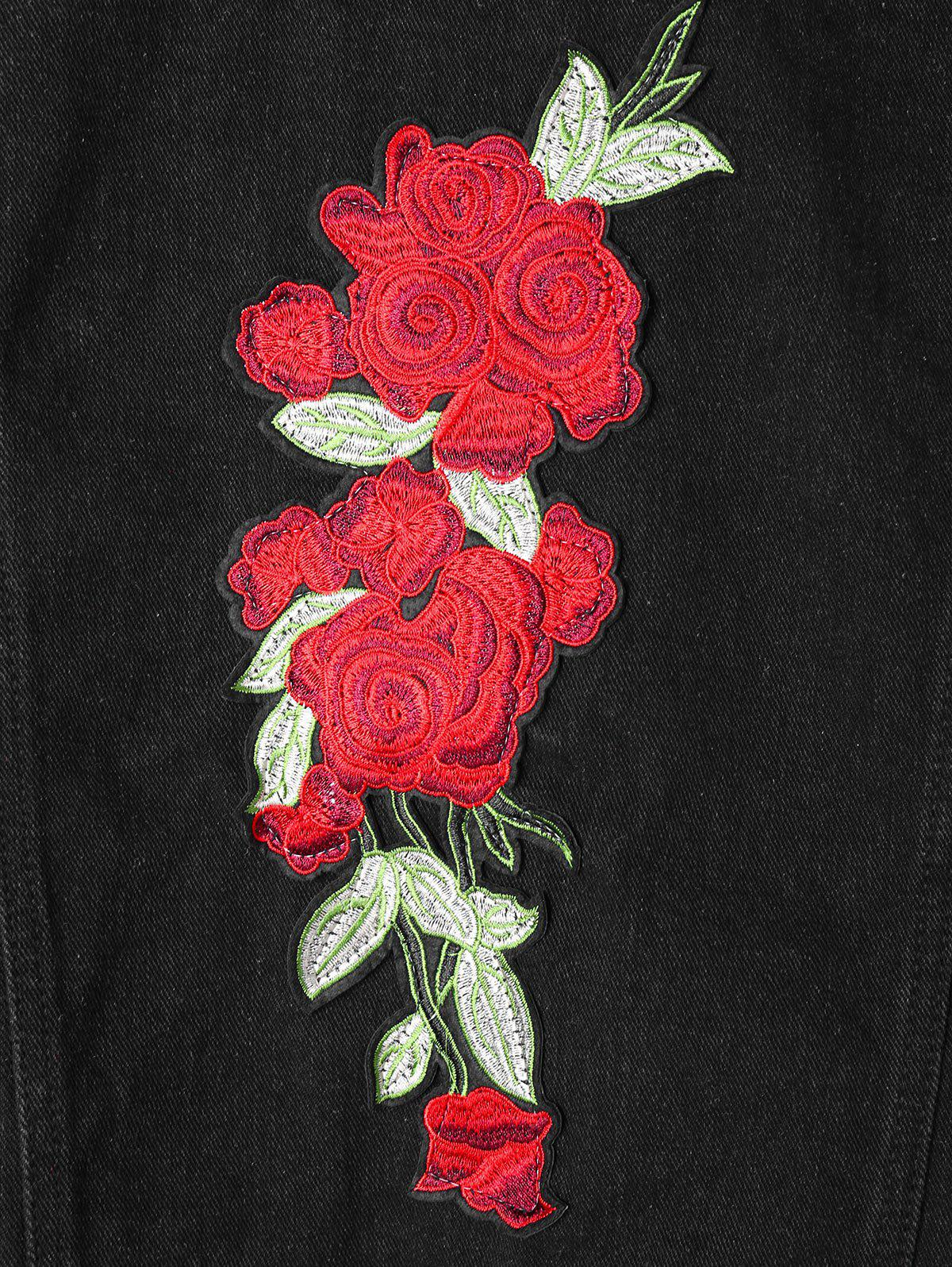 Flower Embroidered Applique Shirt Jacket - BLACK M