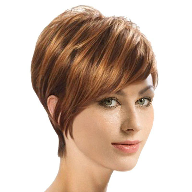 Short Inclined Fringe Colormix Synthetic Straight Wig - COLORMIX
