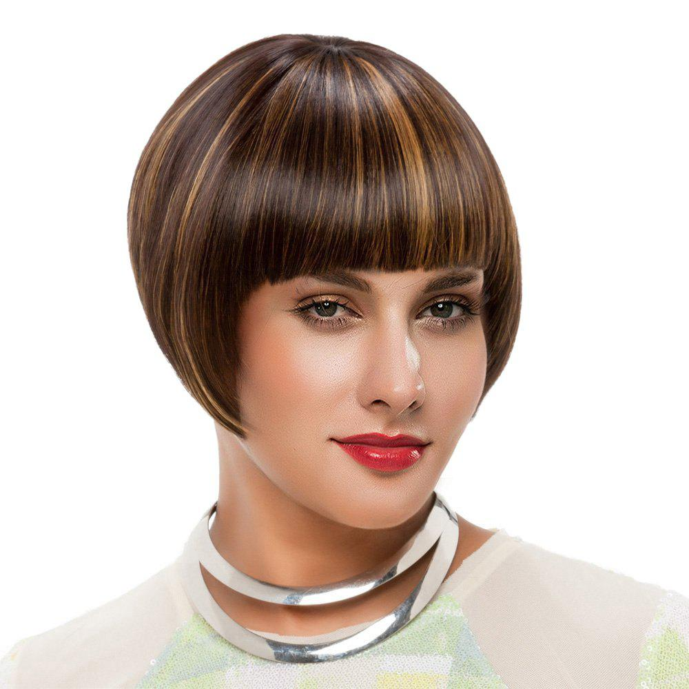 Short Neat Bang Straight Colormix Bob Synthetic Wig - BROWN / GOLDEN