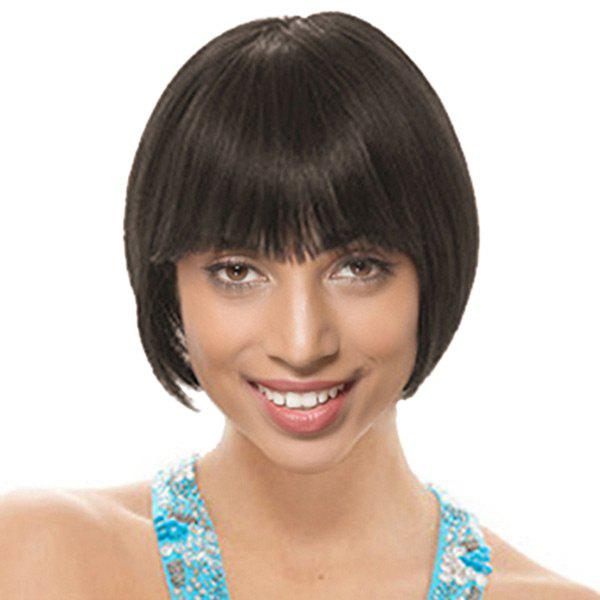 Short Full Fringe Straight Bob Heat Resistant Synthetic Wig - NATURAL BLACK