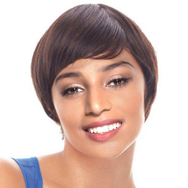Short Inclined Fringe Straight Heat Resistant Synthetic Wig - DEEP BROWN