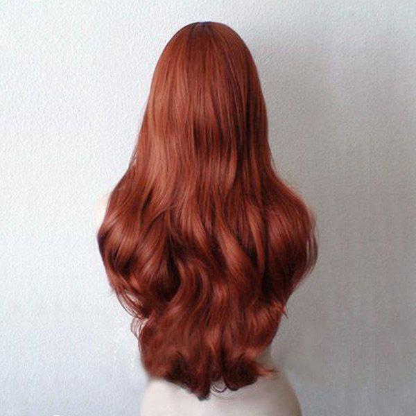 Long Inclined Bang Wavy Synthetic Cosplay Wig - RED BROWN /
