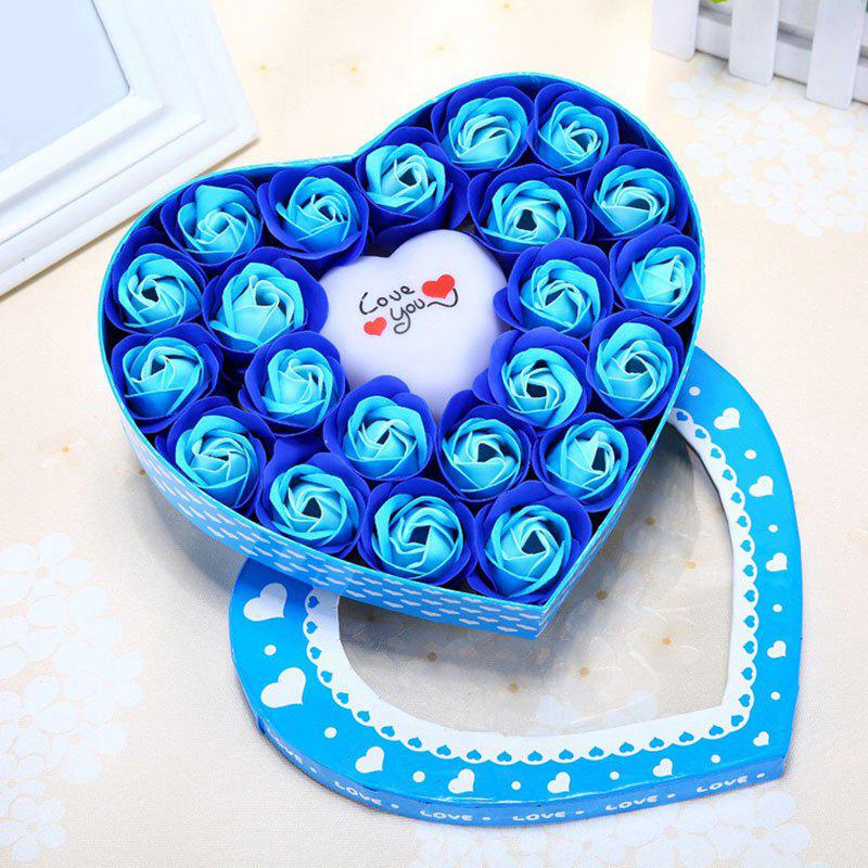 Valentine's Day Gift Led Flash Light Heart and Soap Roses Flowers in a Box - BLUE 21*19*4.5CM
