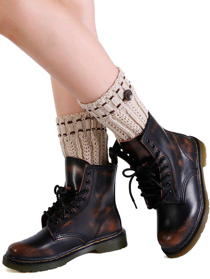 Soft Button Embellished Crochet Knitted Leg Warmers - BEIGE